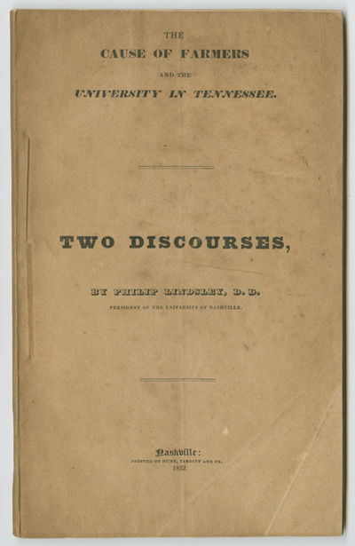 Nashville, 1832. 67pp. Original stiff paper wrappers. Dust soiling to wraps. Contemporary ownership ...