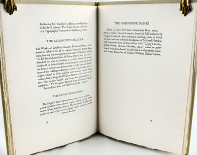 (Dallas: Ondine Press, 1977. Octavo. 19pp. One of 145 copies. Highlights an address given by Frankli...