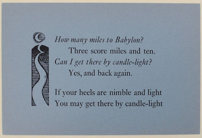 Stoke Ferry, Norfolk: Daedalus Press, nd. First edition. Poetry postcard that measures 4