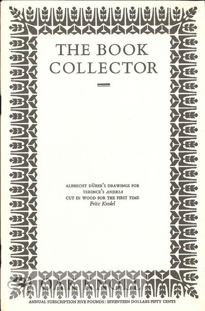 paper wrappers. 8vo. paper wrappers. pp.346-364. Reprint from The Book Collector. With a number of p...