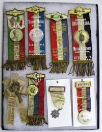 GROUP OF 19 BADGES AND RIBBONS FROM VARIOUS ETHNIC ORGANIZATIONS IN THE NORTHEAST, INCLUDING FRENCH-CANADIAN, GREEK, ITALIAN, SCOTTISH AND SWEDISH GROUPS