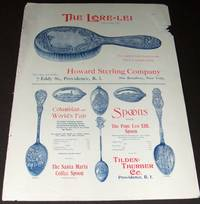 image of A 11 by 15 Inch 1893 Illustrated Advertisement for Souvenir Spoons  Tilden-Thurber Co, and the Lore-Lei Hair Brush from the Howard Sterling  Co. , Suspenders from the Frank H. Lapierre and Clocks from G. S. Lovell  Clock Co.  Chicago Watch Tool Company