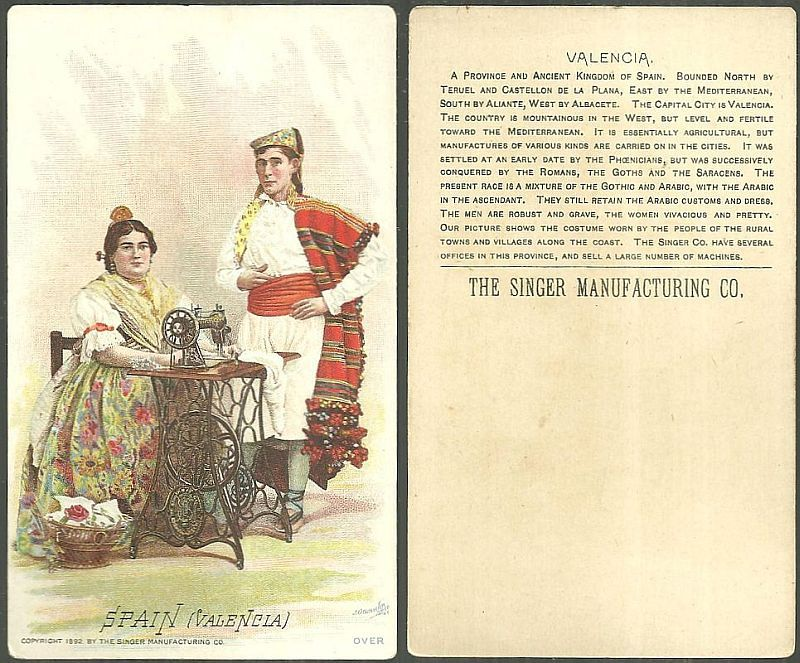 VICTORIAN TRADE CARD FOR SINGER SEWING MACHINE WITH SPAIN (VALENCIA), Advertisement