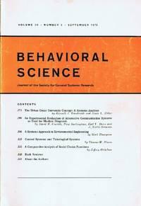 Behavioral Science (Volume 20, Number 5, September 1975)