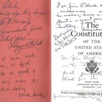 A Unique Piece of U.S. Supreme Court History: A United States Constitution, Signed By 12 Justices, Including the Entire Burger Court, and the Entire, Historic Warren Court, Save One A gift from Justice Black to his Grandson, with a number of vivid, inspirational inscriptions.