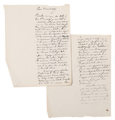 Paris, 1849. 17pp., written recto only on 17 sheets. With a few pieces of related ephemera by J.P. M...