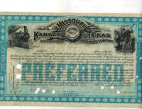image of Stock Certificate for Less Than 100 Shares in the Missouri, Kansas and Texas Railway Company