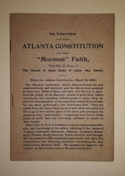 First edition. 24pp. Sextodecimo stapled pamphlet, self wraps, as issued. Light ink stamp to upper c...