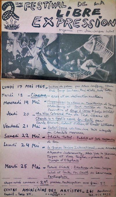 Paris: Centre Americains Des Artistes, 1965. First edition. Loose Sheets. Good. Single sheet folded ...