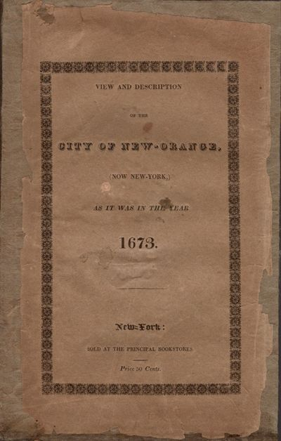 New York: Printed by C. S. Van Winkle, 1825. First Edition. Wraps. Good. Wraps. Approx. 9