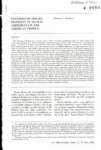 image of Patterns of Species Diversity in Anuran Amphibians in the American Tropics