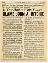 image of Strike Broadside: If You Had to Walk Today - Blame John A. Ritchie