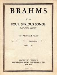image of Four Serious Songs, Op.121 [Vier Ernste Gesange]  - for HIGH BASS voice (original version) and Piano [MUSIC SCORE]