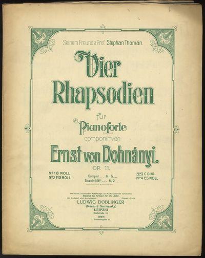 Leipzig: Ludwig Doblinger , 1910. Folio. Original publisher's dark ivory wrappers printed in green. ...