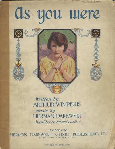 London: Herman Darewski Music Publishing , 1918. Quarto. Original publisher's illustrated wrappers. ...