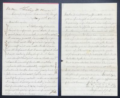 Autograph letter, signed, from John M. Kumler, Co. D, 15th U.S. Infantry, to his cousin Kate. Two sh...