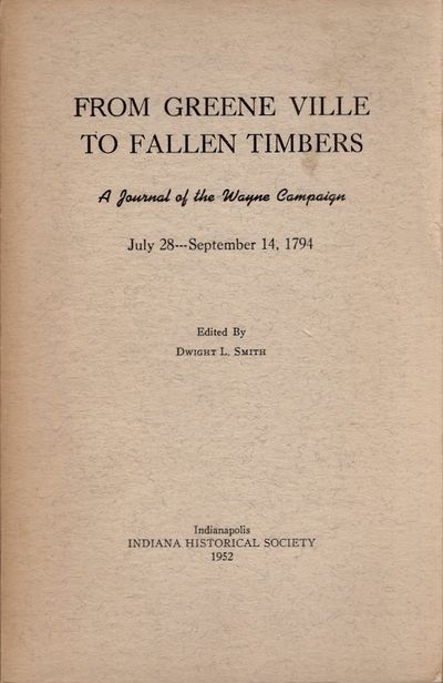 Indianapolis: Indiana Historical Society, 1952. Soft cover. Good +. Octavo. Soft cover. , pages 239-...