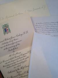 image of Invitation to the Installation of The Most Reverend Richard James Cushing, D. D., Archbishop-elect of Boston at Cathedral of the Holy Cross, Boston. November 8th 1944.