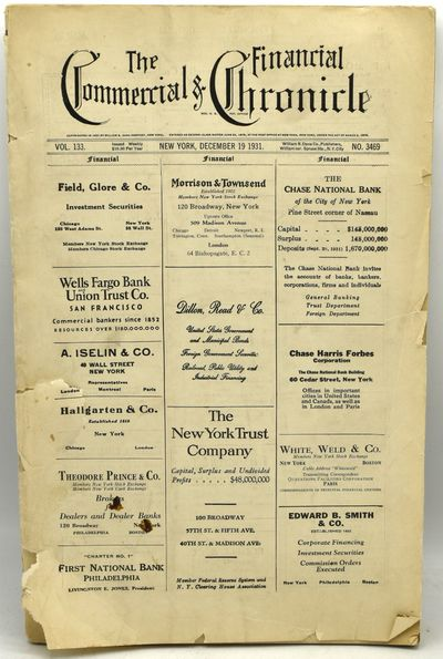 New York: William B. Dana Company, 1931. Soft Cover. Fair binding. A weekly financial newspaper from...
