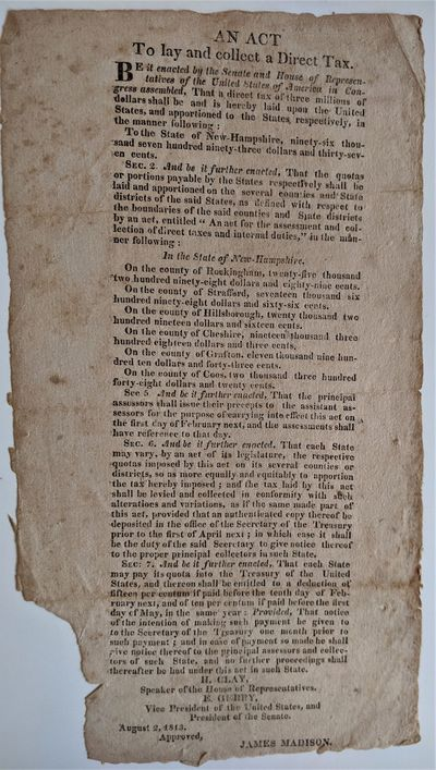 (Washington, D. C., 1813. Broadside, narrow 4to.  270 x 145 mm., . Paper brown with age, small piec...
