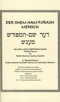 Der Shem Ham'forash Mensch [Human, God's Ineffable Name]: Yiddish Poems.