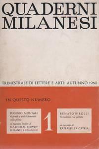 Quaderni milanesi. Autunno 1960, N. 1, Anno I