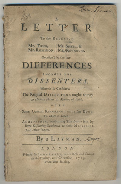 London: printed for John Clark, 1719. 8vo. 95, pp. First of two editions, both in 1719. Serious disc...