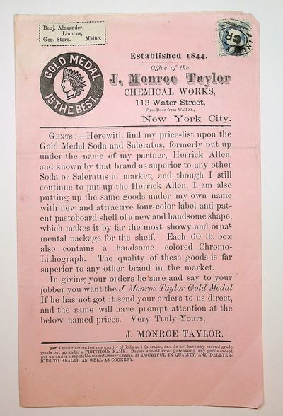 New York, N.Y.: J. Monroe Taylor Chemical Works, 1880. Very Good. pages. 6 14 x 10 1/8 inches (folde...