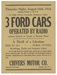 image of Original flyer for a remote radio-controlled Ford Motors automobile event, 1934