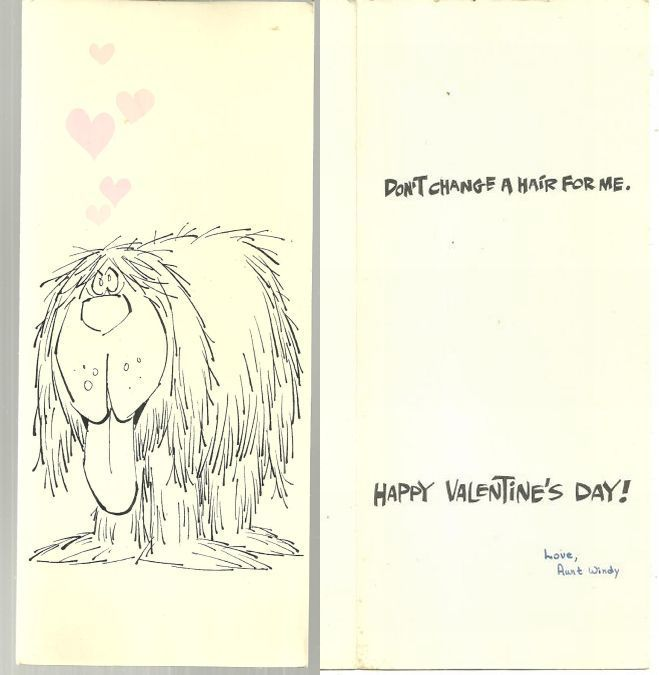 VINTAGE VALENTINE CARD WITH SHAGGY LOVE SICK DOG, Valentine