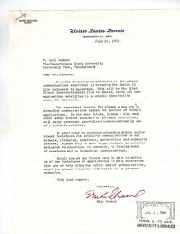 Typed Letter Signed on Senate Letterhead  About Bringing Apollo 11 Live Telecasts to Alaska