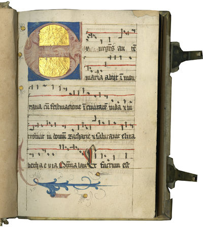 SIXTEENTH CENTURY NOTED BREVIARY WITH TEXTS FOR THE MASS AND COSMETIC RECIPES. In Latin and German, ...