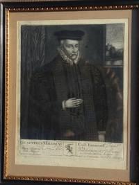 Engraved Portrait of Gualterus Mildmay Three-quarter length, wearing in hat and ruff, building...