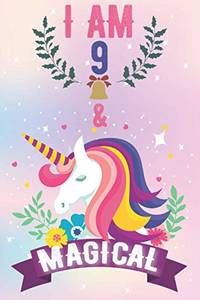 I AM 9 & MAGICAL: Unicorn Christmas Journal Activity book for Kids, birthday activity book...