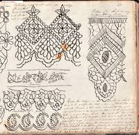 Elaborate nineteenth century manuscript embroidery and needlework pattern work book and record