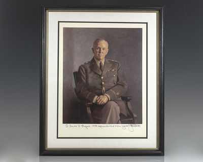 Rare portrait of Nobel Peace Prize-winning American General George C. Marshall, inscribed by him ben...