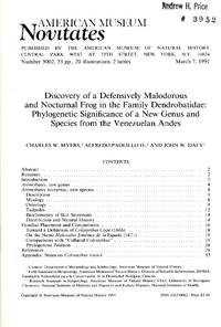 image of Discovery of a Defensively Malodorous and Nocturnal Frog in the Family Dendrobatidae: Phylogenetic Significance of a New Genus and Species from the Venezuelan Andes