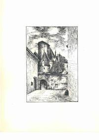 Raabs a TA [Raabs an der Taya, Niederösterreich, Österreich], ca. 1950. Schwarze Tusche und Bleistift auf weißem Papier. Vom Künstler r. u. mit schwarzer Tusche betitelt und monogrammiert \