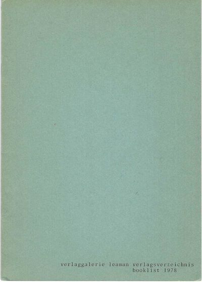 Many text. illus. pp. 8vo, printed wrappers, staple-bound. Alsbach: 1978. Scarce catalogue issued by...