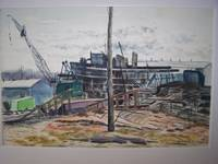 "image of Original Artwork Entitled ""Tug Boat Construction and Repair, Oyster Bay, NY"""