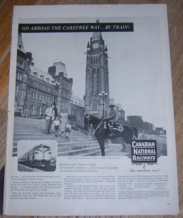 1956 CANADIAN NATIONAL RAILWAYS MAGAZINE ADVERTISEMENT, Advertisement