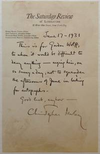 """Autographed Letter Signed on """"The Saturday Review"""" letterhead"""