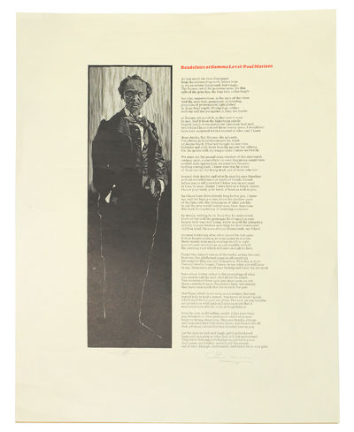 """Pennyroyal Press: 2005 Broadside, 14 1/2 x 19"""", wood engraved illustration, text in black and red...."""