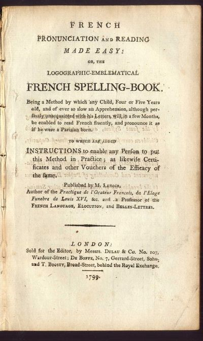 London: Dulau & Co, 1799. First Edition. Disbound. Good Condition. Disbound but complete. Lenoir's s...