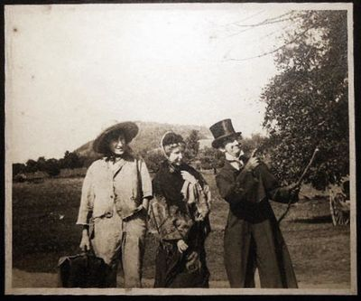 USA: No Publisher Noted, 1910. Black and white image, three young people dressed as: a hobo, a Victo...