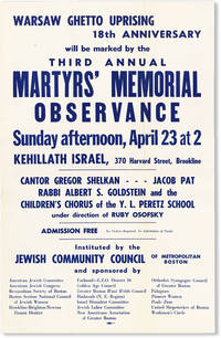 image of Warsaw Ghetto Uprising 18th Anniversary Will Be Marked By The Third Annual Martyrs' Memorial Observance...Kehillath Israel, 370 Harvard Street, Brookline [etc]