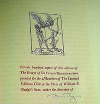 THE ESSAYES [ESSAYS] OR COUNSELS CIVILL & MORALL OF FRANCIS BACON BARON OF VERULAM VISCOUNT SAINT ALBAN