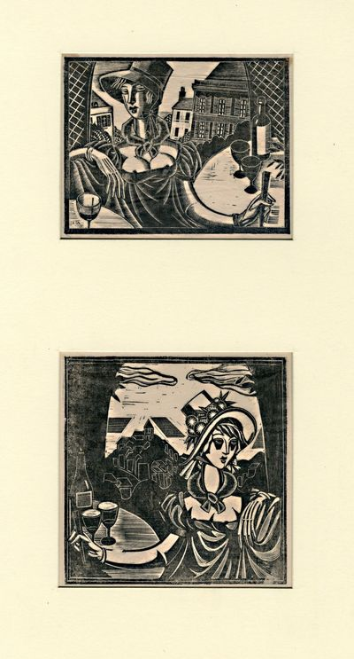 [Np: The Artist, 1930. Two original wood-engravings, printed in black on tissue, images 8 x 10 cm an...