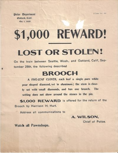 Oakland, CA: Police Department, 1908. Reward poster Good. Horizontal fold with two small holes near ...