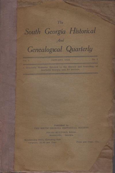 Homerville, Georgia: The South Georgia Historical Society, 1922. First Edition. Wraps. Fair. Wraps. ...